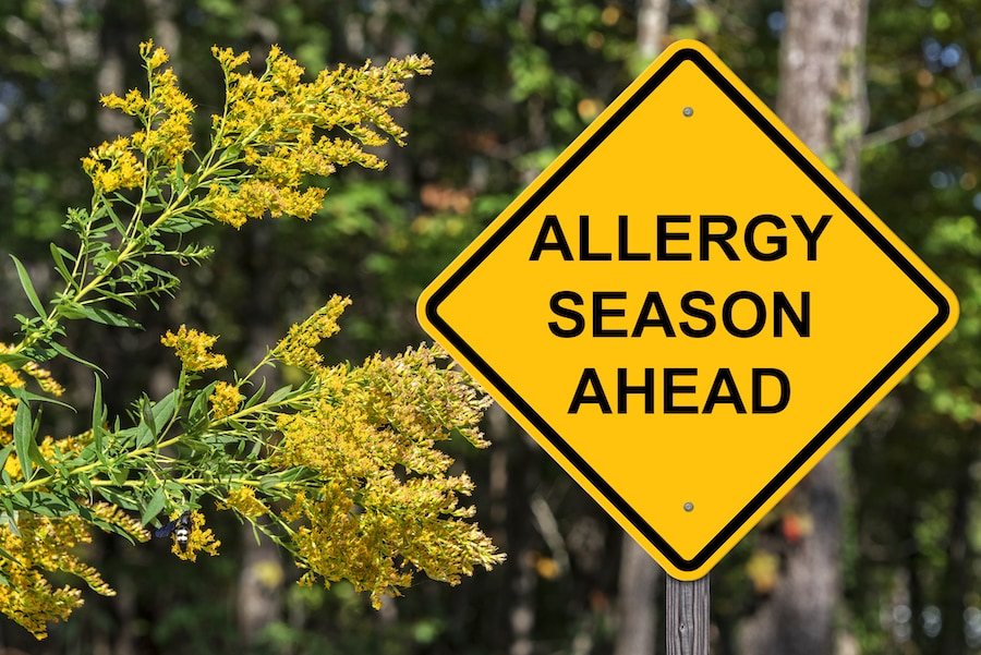 Caution Sign Warning About Upcoming Allergy Season